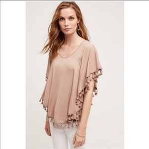 Anthropologie Eri + Ali Pom Poncho Top Taupe SZ S